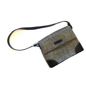 REACTION Kenneth Cole rattan tan, black mini purse